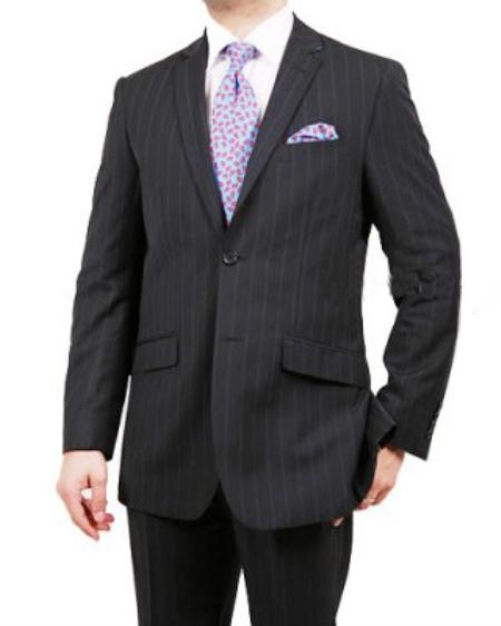SKU#GY2310 Mens 2 Button Black W/Navy Blue Stripe ~ Pinstripe Suit