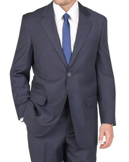 SKU#HU4581 Men's 2 Button Blue Stripe ~ Pinstripe Suit