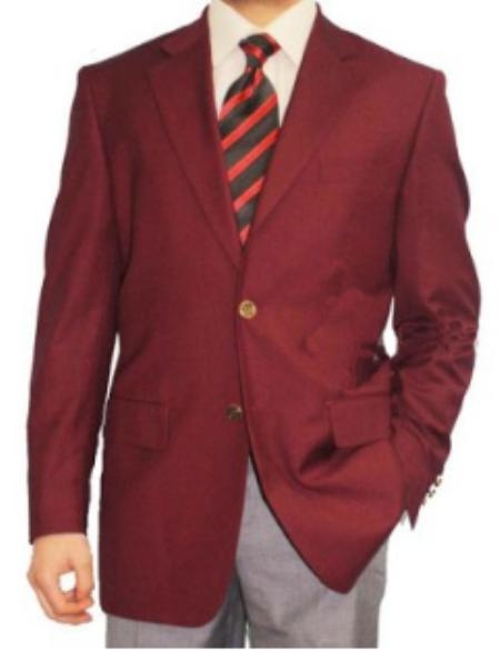 SKU#TS8194 Mens 2 Button Burgundy ~ Maroon ~ Wine Color Blazer Sport Coat $139