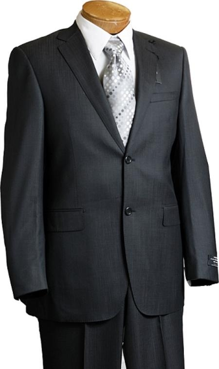 SKU#TH9012 Mens 2 Button Charcoal Pin Italian Designer Suit Charcoal $249