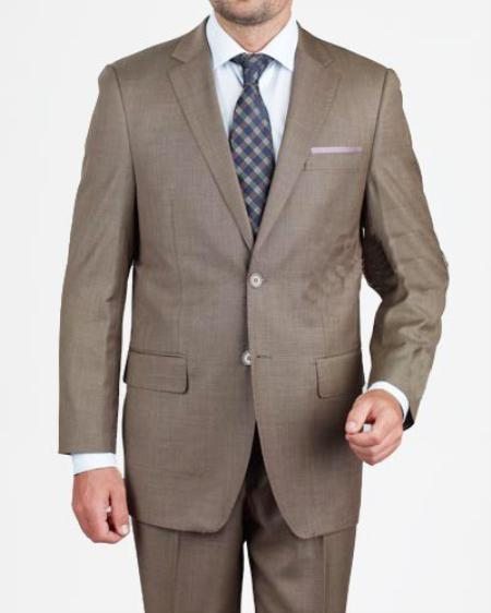 SKU#HX2754 Men's 2 Button Dark Taupe Suit