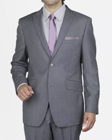 SKU#NR3692 Mens 2 Button Grey Mini Stripe Slim Suit $109
