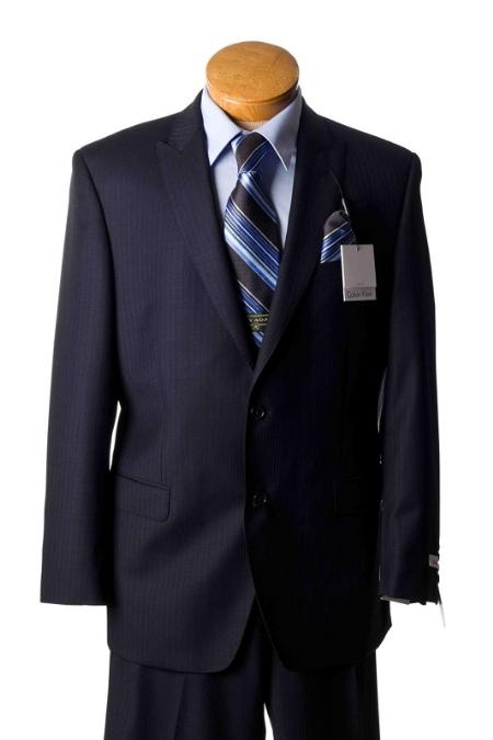 SKU#LX5610 Mens 2 Button Navy Pinstripe Slim Fit Designer Suit Navy $299