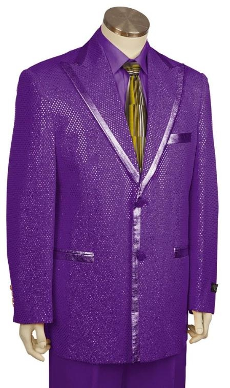 SKU#MW2842 Mens 2 Button Shiny Flashy Metallic Purple Tuxedo Suit $199