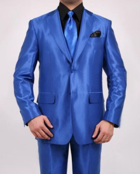 SKU#BY6710 Men's 2 Button Royal Blue Shiny Sharkskin Oxford Suit $139