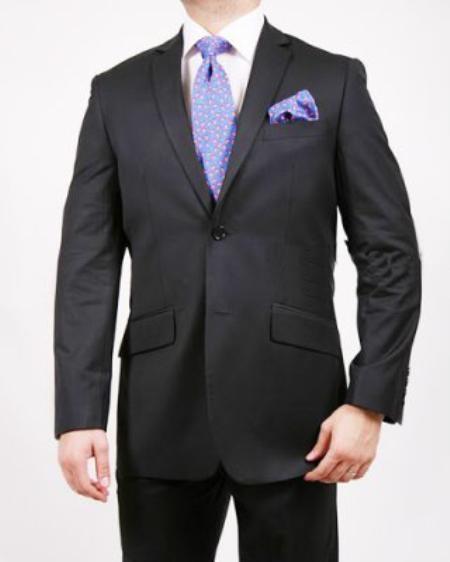 SKU#JS5672 Mens 2 Button Shadow Stripe ~ Pinstripe Suit Black