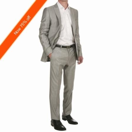 SKU#HC8211 Mens 2-Button Silver Fitted Suit $139