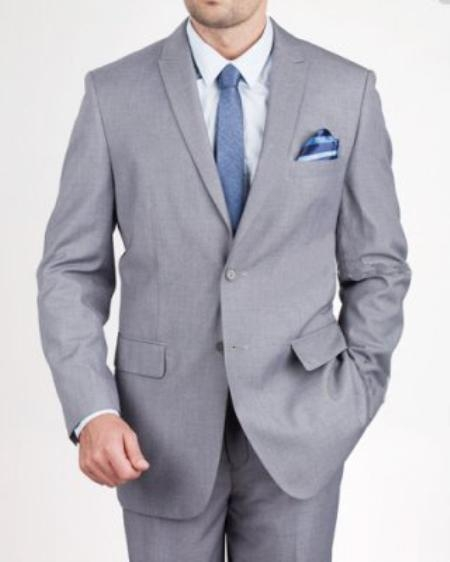 MensUSA.com Mens 2 Button Slim Grey Textured Suit(Exchange only policy) at Sears.com