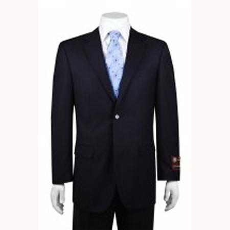 SKU#DA3335 Mens 2-button Solid Navy Suit