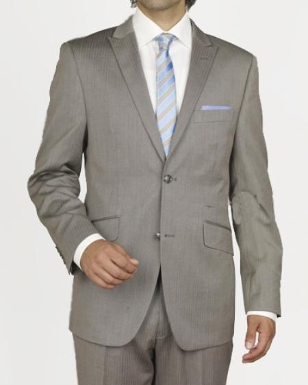 SKU#GW2307 Mens 2 Button Taupe Stripe Slim Suit $109