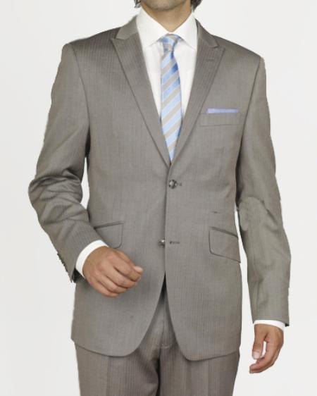 SKU#GW2307 Mens 2 Button Taupe Stripe ~ Pinstripe Slim Suit $109
