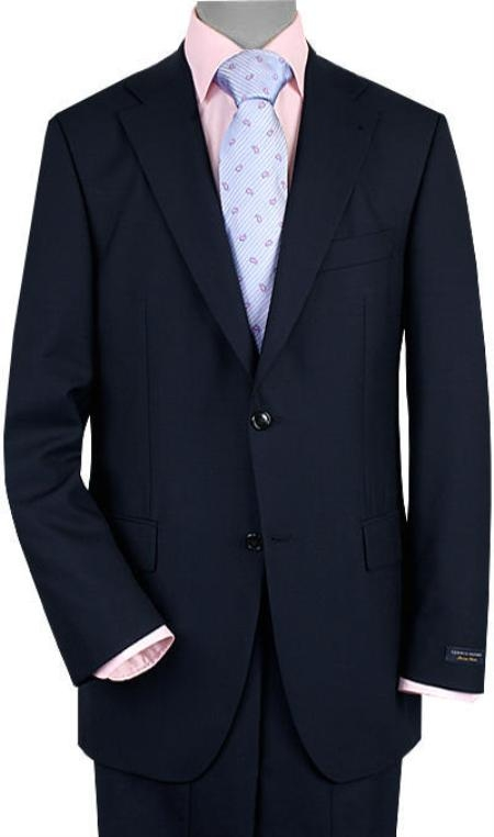 SKU#HC5333 Mens 2 Button Vented Navy No Pleats Suit $289