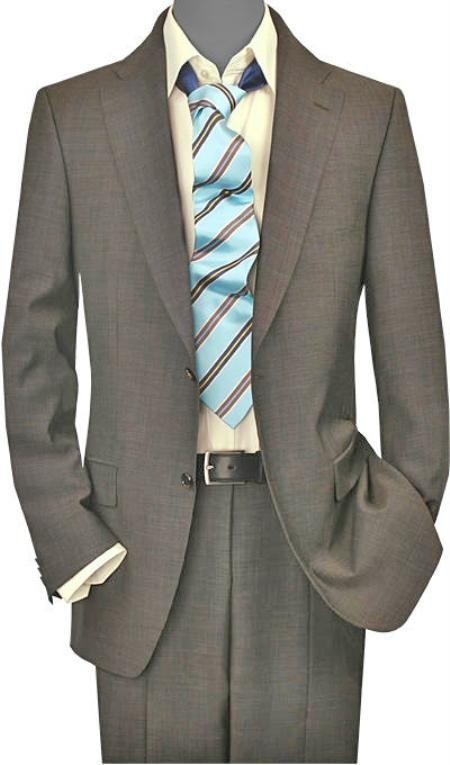 SKU#HR2927 Mens 2 Button Vented Taupe Sharkskin No Pleats Suit $175