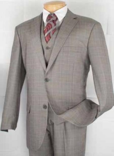SKU#VF0302 Mens 2-Button Vested Plaid three piece suit - Grey $159