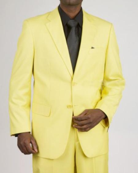SKU#WQ2921 Mens 2 Button Yellow Suit $595