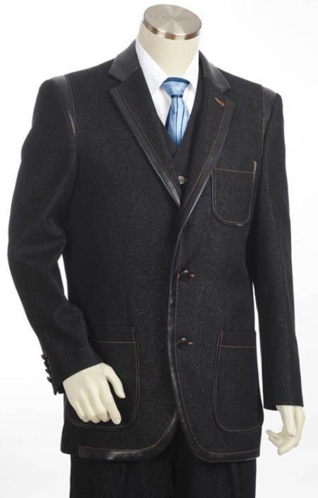 SKU#KX7921 Mens 3 Button 3PC Fashion Denim Cotton Fabric Trimmed Two Tone Blazer/Suit/Tuxedo Black $170