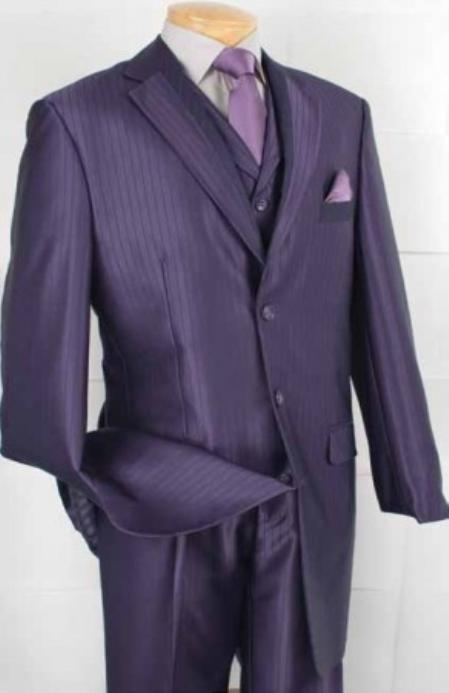 SKU#ML2911 Mens 3-Button Pinstripe Fashion three piece suit - Purple $149