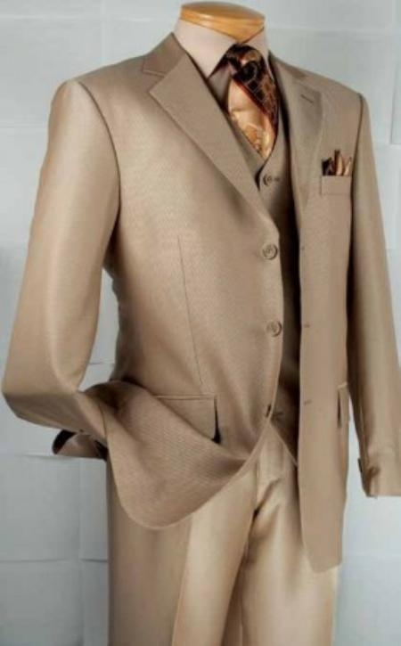 SKU#DB2930 Mens 3-Button Vested Diagonal Stripe three piece suit - Beige $149