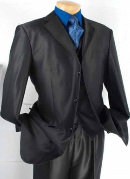 SKU#UH2893 Mens 3-Button Vested Fashion three piece suit - Black $139