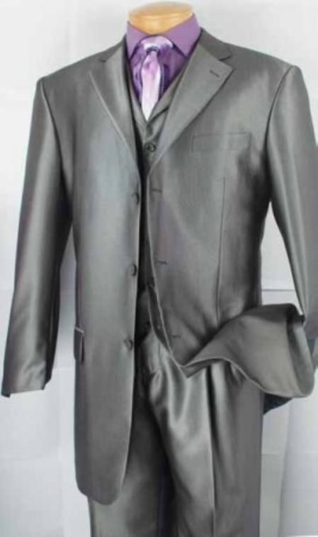 SKU#PL9202 Mens 3-Button Vested Fashion three piece suit - Grey $149