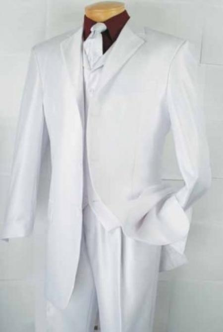 SKU#PX8302 Mens 3-Button Vested Fashion three piece suit - White $139