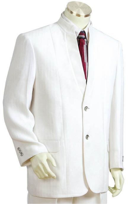SKU#JH2411 Mens 3 Buttons Suit Style Comes in White