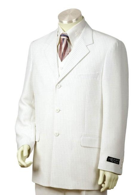 SKU#JI2124 Mens 3 Buttons Suit White color