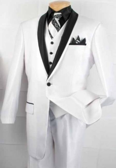 SKU#NK2020 Mens 3 Pc. Slim-Fit three piece suit White $149