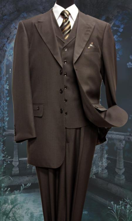 SKU#YF33469 Mens 3 Peice Solid Fashion Suit Brown