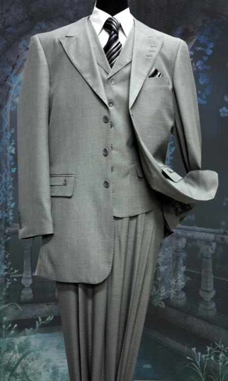 SKU#NT5500 Mens 3 Peice Solid Fashion Suit Gray $175