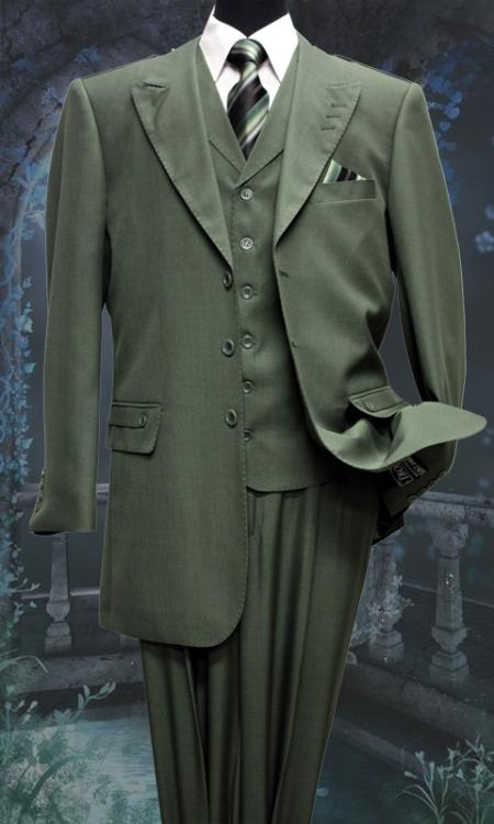 SKU#KE2730 Mens 3 Piece Solid Fashion Suit Olive $175