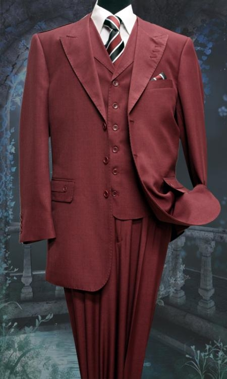 SKU#KX6186 Mens 3 Peice Solid Fashion Suit With A Vest Burgundy ~ Maroon ~ Wine Color $175