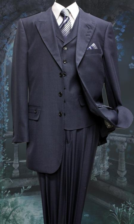 SKU#BW6217 Mens 3 Piece Solid Fashion Suit With A Vest Navy $175