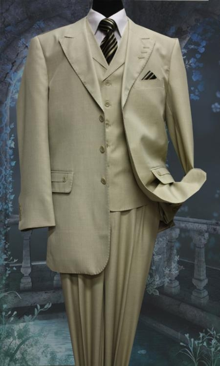 SKU#GU3472 Mens 3 Piece Solid Fashion Suit With A Vest Tan $175