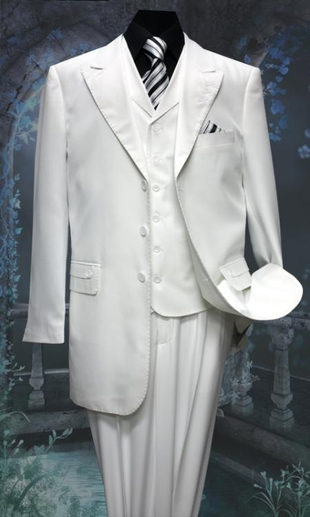 SKU#KO3429 Mens 3 Piece Solid Fashion Suit With A Vest White $249