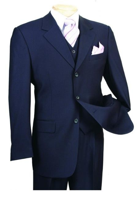 SKU#HV666 Mens 3 Piece 3 Button three piece suit with a Fully Lined Vest and Pleated Pants $139