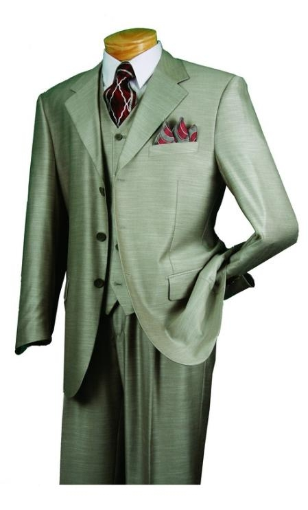 SKU#MN679 Mens 3 Piece 3 Button three piece suit with a Fully Lined Vest and Pleated Pants $139