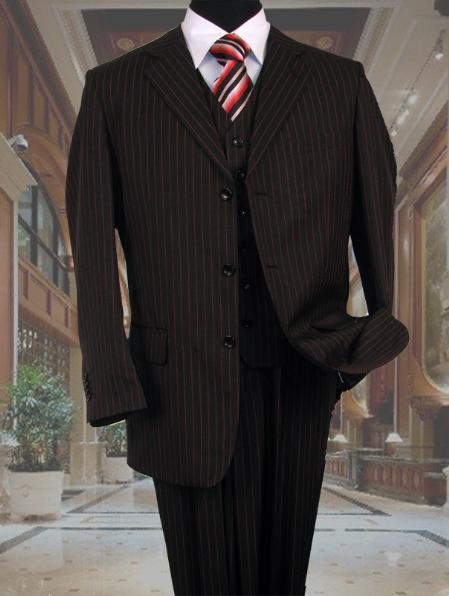 SKU#MUBR3 Men Black & Red Stripe Vested Suit 3 Button Suit + Black Shirt & Red Tie Package $129
