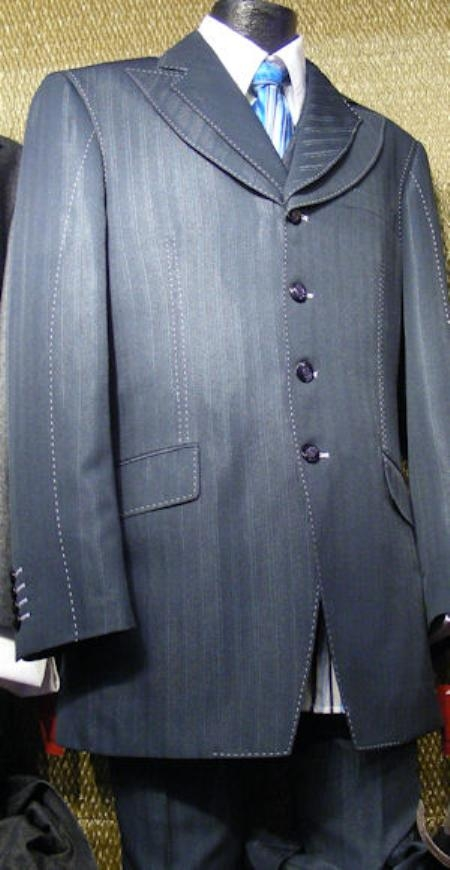 SKU#BE2933 Mens 3 Piece Denim Cotton Fabric Suit Navy $175