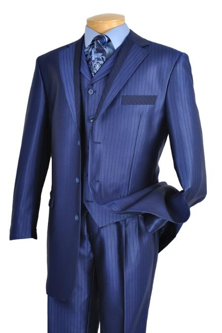 SKU#UX7902 Mens 3 Piece High Fashion Suit Blue $175