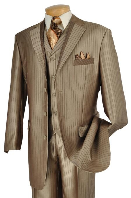 SKU#HX0322 Mens 3 Piece High Fashion Suit Cappuccino $175