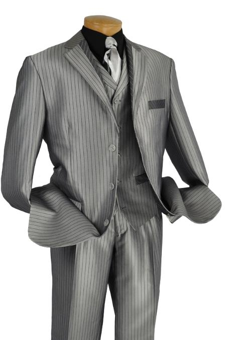 SKU#HD8322 Mens 3 Piece High Fashion Suit Gray $175