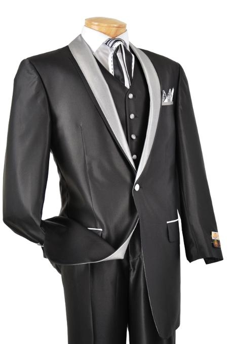 SKU#XM8444 Mens 3 Piece High Fashion Suit Shiny Black $175