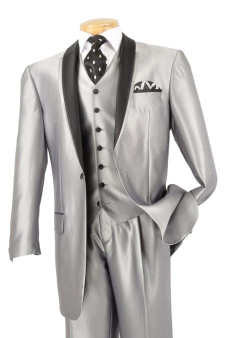 SKU#FM3922 Mens 3 Piece High Fashion Suit Shiny Silver $175