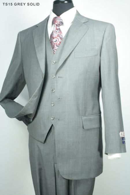 SKU#HB6865 Mens 3pc Fashion Suit in 100% Wool Grey Solid $175