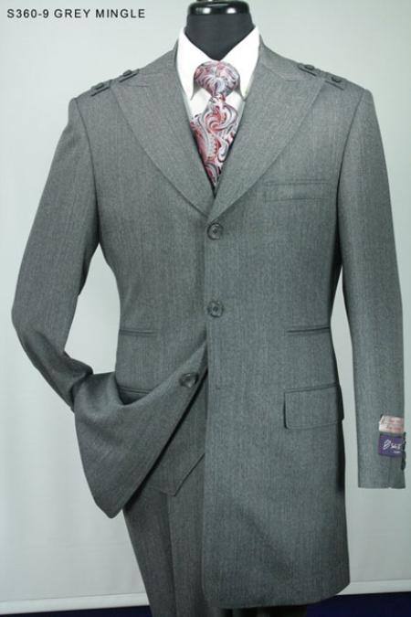SKU#NB6592 Mens 3pc Fashion Suit in 100% Wool with Wide Leg Pants Grey Mingle $139