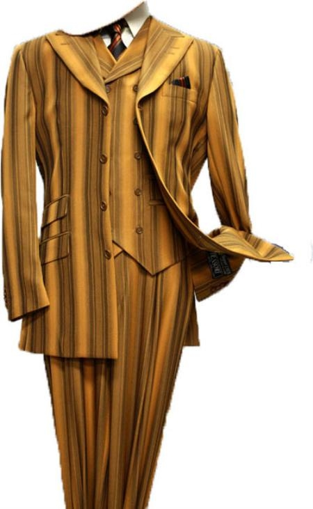 SKU#BR9323 Mens 3pc Fashion Suit with Wide Leg Pants Brick $175