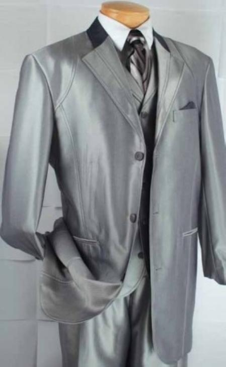 SKU#LS8932 Mens 4-Button Contrast Lapel Fashion three piece suit - Grey $149