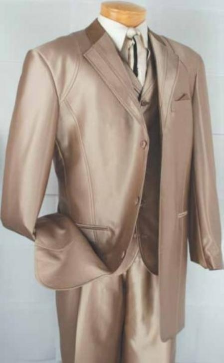 SKU#MK2902 Mens 4-Button Contrast Lapel Fashion three piece suit - Taupe $149