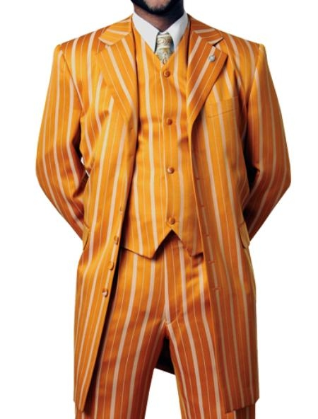 SKU#JR5429 Mens 4 Button Fashion Suit Orange $165